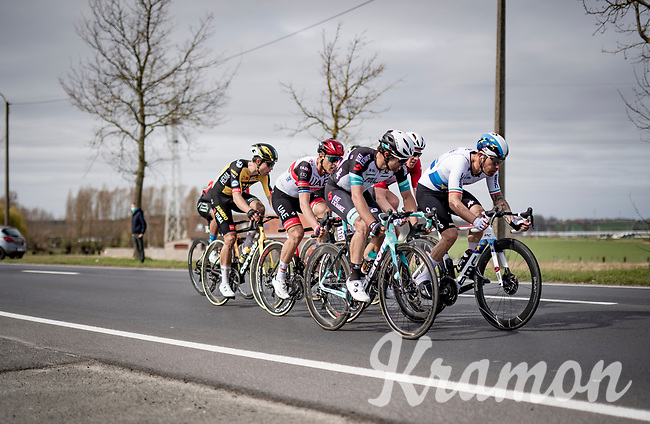 Giacomo Nizzolo (ITA/Qhubeka ASSOS) leading the lead group in the race finale<br /> <br /> 83rd Gent-Wevelgem - in Flanders Fields (ME - 1.UWT)<br /> 1 day race from Ieper to Wevelgem (BEL): 254km<br /> <br /> ©kramon