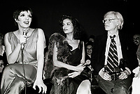 Minelli Jagger Warhol6868.JPG<br /> New York, NY 1978 FILE PHOTO<br /> Liza Minelli, Bianca Jagger, Andy Warhol<br /> Studio 54<br /> Digital photo by Adam Scull-PHOTOlink.net<br /> ONE TIME REPRODUCTION RIGHTS ONLY<br /> NO WEBSITE USE WITHOUT AGREEMENT<br /> 718-487-4334-OFFICE  718-374-3733-FAX