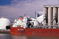 Great Lakes ship, CSL Niagara, Canadian Steamship Line, loading grain at The Andersons elevators; Maumee River; Toledo, Ohio.