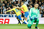 UD Las Palmas' Tana Dominguez (l) and David Simon (c) celebrate goal in presence of Real Madrid's Keylor Navas dejected during La Liga match. March 1,2017. (ALTERPHOTOS/Acero)