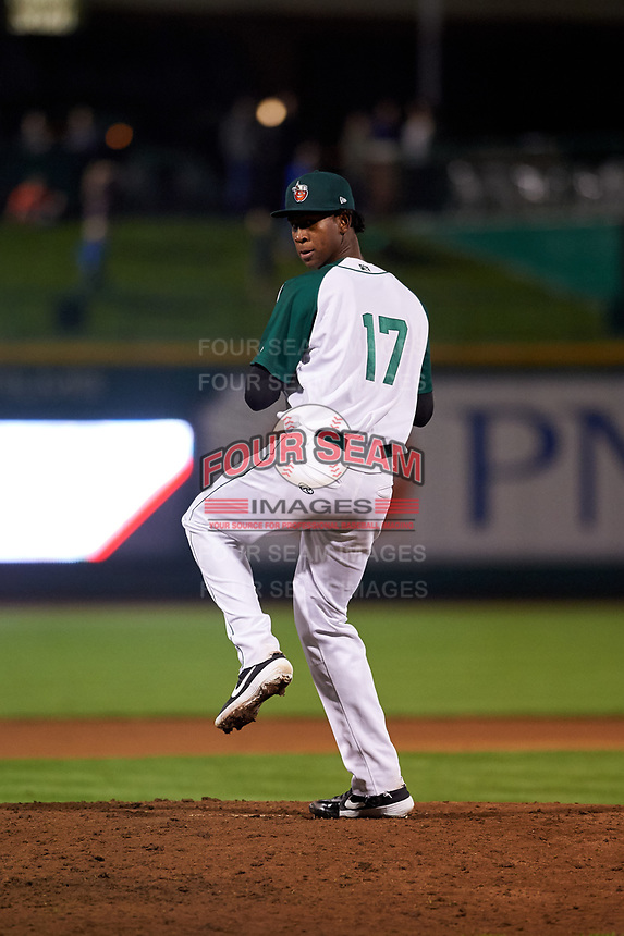 Fort Wayne TinCaps relief pitcher Henry Henry (17) during a Midwest League game against the Quad Cities River Bandits at Parkview Field on May 3, 2019 in Fort Wayne, Indiana. Quad Cities defeated Fort Wayne 4-3. (Zachary Lucy/Four Seam Images)