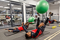 (L-R) Nathan Dyer and Wayne Routledge exercise in the gym during the Swansea City Training Session and Press Conference at The Fairwood Training Ground, Wales, UK. Thursday 29 March 2018