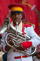 Bodhnath, Nepal.  Nepalese Musician in a Band Playing for a Wedding Celebration.