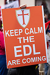© Joel Goodman - 07973 332324 . 05/05/2012 .  Luton , UK . Approximately 1,500 people take part in an EDL ( English Defence League ) march in Luton , understood to have been policed by over 1,000 officers . Photo credit: Joel Goodman