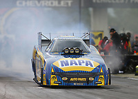 Sep 1, 2017; Clermont, IN, USA; NHRA funny car driver Ron Capps during qualifying for the US Nationals at Lucas Oil Raceway. Mandatory Credit: Mark J. Rebilas-USA TODAY Sports