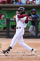 Wisconsin Timber Rattlers shortstop Freddy Zamora (9) swings at a pitch during a game against the Cedar Rapids Kernels on September 8, 2021 at Neuroscience Group Field at Fox Cities Stadium in Grand Chute, Wisconsin.  (Brad Krause/Four Seam Images)