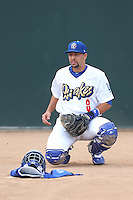 Webster Rivas (8) of the Rancho Cucamonga Quakes prepares to catch in the bullpen before a game a game against the Modesto Nuts at LoanMart Field on May 39, 2015 in Rancho Cucamonga, California. Rancho Cucamonga defeated Modesto, 13-2. (Larry Goren/Four Seam Images)