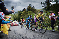 Yellow Jersey Adam Yates (GBR/Mitchelton-Scott) and Alejandro Valverde (ESP/Movistar) up the Col de Marie Blanque<br /> <br /> Stage 9 from Pau to Laruns 153km<br /> 107th Tour de France 2020 (2.UWT)<br /> (the 'postponed edition' held in september)<br /> ©kramon