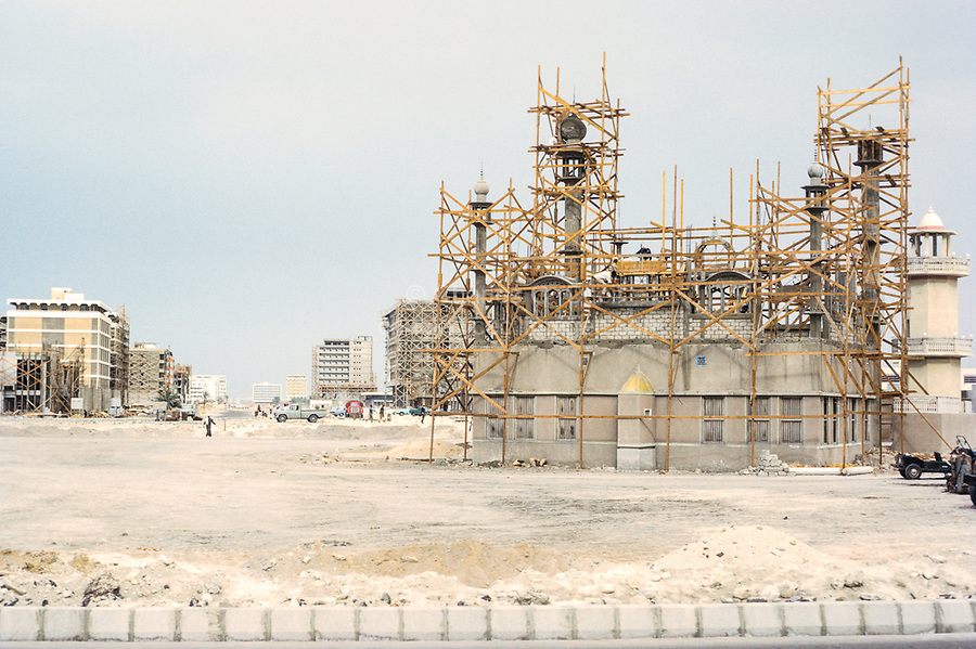 Abu Dhabi, UAE. Neighborhood Mosque and Other Construction as Part of Abu Dhabi's Modern Urban Development. Photographed March 1972.