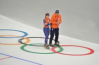 OLYMPIC GAMES: PYEONGCHANG: 17-02-2018, Gangneung Oval, Long Track, Training session, Irene Schouten (NED), Jillert Anema (coach), ©photo Martin de Jong