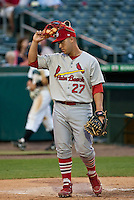 May 1 2010: Tony Cruz (27) of the Palm Beach Cardinals during a game vs. the Jupiter Hammerheads at Roger Dean Stadium in Jupiter, Florida. Palm Beach, the Florida State League High-A affiliate of the St. Louis Cardnials, won the game against Jupiter, affiliate of the Florida MArlins, by the score of 5-4  Photo By Scott Jontes/Four Seam Images