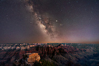 Milky Way Gallaxy over Grand Canyon, North Rim View. Arizona