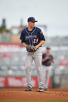 Jacksonville Jumbo Shrimp starting pitcher Nick Neidert (23) gets ready to deliver a pitch during a game against the Pensacola Blue Wahoos on August 15, 2018 at Blue Wahoos Stadium in Pensacola, Florida.  Jacksonville defeated Pensacola 9-2.  (Mike Janes/Four Seam Images)