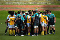 The team huddles at the start of the Hurricanes rugby union training at Rugby League Park in Wellington, New Zealand on Wednesday, 19 April 2017. Photo: Dave Lintott / lintottphoto.co.nz