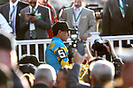 June 6, 2015: Members of the media and connections of the horse and rider crowd the winner's circle after American Pharoah, Victor Espinoza up, wins the 147th running of the Grade I  Belmont Stakes and with it the Triple Crown at Belmont Park, Elmont, NY.  Joan Fairman Kanes/ESW/CSM