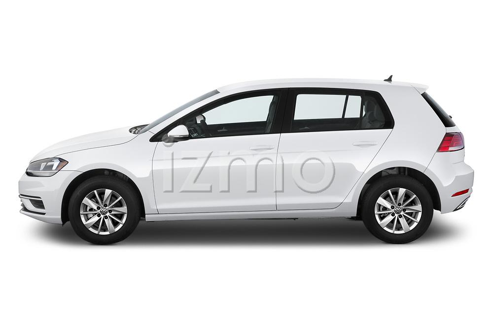 Car driver side profile view of a 2019 Volkswagen Golf S 5 Door Hatchback