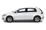 Car driver side profile view of a 2019 Volkswagen Golf S 5 Door Hatchback