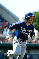 Tampa Bay Rays designated hitter Sam Fuld #5 hits a home run during a Spring Training game against the Detroit Tigers at Joker Marchant Stadium on March 29, 2013 in Lakeland, Florida.  (Mike Janes/Four Seam Images)