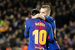 Lionel Messi of FC Barcelona (L) celebrates his goal with Jordi Alba of FC Barcelona (R) during the La Liga 2017-18 match between FC Barcelona and Deportivo La Coruna at Camp Nou Stadium on 17 December 2017 in Barcelona, Spain. Photo by Vicens Gimenez / Power Sport Images