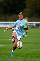 Charlie Gowling of London Scottish practices kicks during the Championship Cup match between London Scottish Football Club and Nottingham Rugby at Richmond Athletic Ground, Richmond, United Kingdom on 28 September 2019. Photo by Carlton Myrie / PRiME Media Images