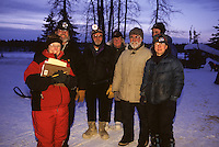 group photo of volunteers of 1999 Junior Iditarod at Yentna including Teacher on the Trail Finney