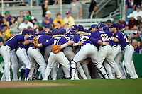 LSU Tigers prepare for their NCAA baseball game against the Mississippi State Bulldogs on March 17, 2012 at Alex Box Stadium in Baton Rouge, Louisiana. The 10th-ranked LSU Tigers beat #21 Mississippi State, 4-3. (Andrew Woolley / Four Seam Images).