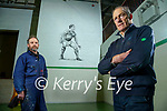 John O'Keeffe former Kerry footballer and teacher at CBS the Green pictured with a mural of him in the school gym by artist Mike O'Donnell.