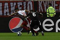 Olympakos's Valbuena (L) with Krasnodar's Ramirez (R) during the UEFA Champions League playoff first leg soccer match between Olympiakos and Krasnodar at Karaiskaki stadium in Piraeus, Greece, on 21 August 2019