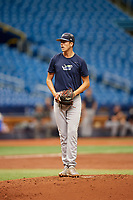 Matthew Liberatore (23) gets ready to deliver a pitch during the Tampa Bay Rays Instructional League Intrasquad World Series game on October 3, 2018 at the Tropicana Field in St. Petersburg, Florida.  (Mike Janes/Four Seam Images)