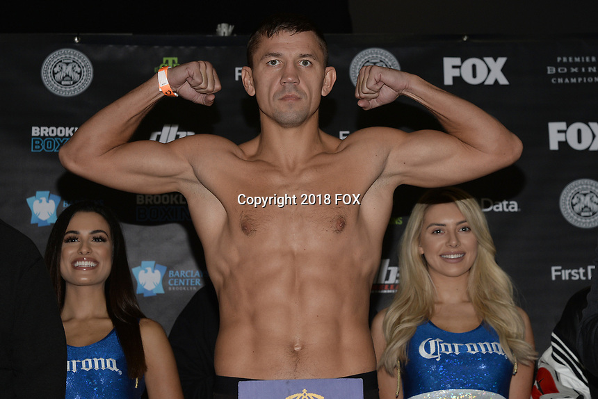 BROOKLYN, NY - DECEMBER 21: Russian Boxer Matt Korobov attends the Premier Boxing Champions official weigh-in for the December 22 Fox PBC Fight Night at the Barclay Center on December 21, 2018 in Brooklyn, New York. (Photo by Anthony Behar/Fox Sports/PictureGroup)