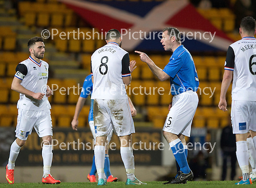 St Johnstone v Inverness Caledonian Thistle...20.12.14   SPFL<br /> Frazer Wright goes after Ross Draper after he fouled Simon Lappin<br /> Picture by Graeme Hart.<br /> Copyright Perthshire Picture Agency<br /> Tel: 01738 623350  Mobile: 07990 594431