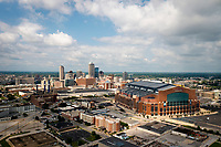 The downtown Indianapolis, Indiana skyline is pictured from the air on Saturday, July 17, 2021. Pictured at right is Lucas Oil Stadium, home of the Indianapolis Colts of the NFL. (Photo by James Brosher)