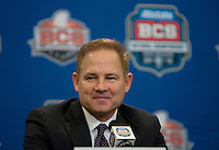 LSU Head Coach Les Miles smiles while talking with the reporters during BCS National Championship Head Coaches Press Conference at Marriott Hotel at the Convention Center on January 8th, 2012.