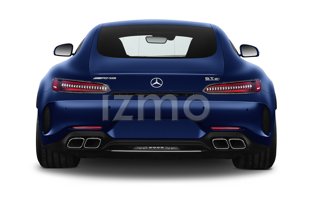 Straight rear view of 2020 Mercedes Benz AMG-GT C 3 Door Coupe Rear View  stock images