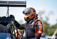 Aug 18, 2019; Brainerd, MN, USA; NHRA top fuel driver Mike Salinas during the Lucas Oil Nationals at Brainerd International Raceway. Mandatory Credit: Mark J. Rebilas-USA TODAY Sports