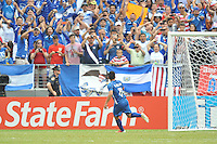 Rodolfo Zelaya (11) of El Salvador celebrates with fans after taking a penalty kick. The USMNT defeated El Salvador 5-1 at the quaterfinal game of the Concacaf Gold Cup, M&T Stadium, Sunday July 21 , 2013.