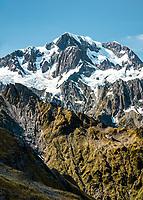 Highest peak of Southern Alps, Aoraki Mount Cook 3,724m from Mt. Fox, Westland Tai Poutini National Park, West Coast, UNESCO World Heritage Area, New Zealand, NZ