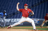 Clearwater Threshers relief pitcher Matt Hockenberry (30) delivers a pitch during a game against the Charlotte Stone Crabs on April 12, 2016 at Bright House Field in Clearwater, Florida.  Charlotte defeated Clearwater 2-1.  (Mike Janes/Four Seam Images)