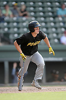 Designated hitter Jarred Kelenic (10) of the West Virginia Power bats in a game against the Greenville Drive on Sunday, May 19, 2019, at Fluor Field at the West End in Greenville, South Carolina. Greenville won, 8-4. (Tom Priddy/Four Seam Images)