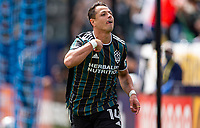 CARSON, CA - APRIL 25: Javier Hernandez #14 of the Los Angeles Galaxy celebrates his goal during a game between New York Red Bulls and Los Angeles Galaxy at Dignity Health Sports Park on April 25, 2021 in Carson, California.