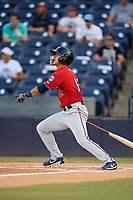 Fort Myers Miracle left fielder Mark Contreras (12) follows through on a swing during a game against the Tampa Tarpons on May 2, 2018 at George M. Steinbrenner Field in Tampa, Florida.  Fort Myers defeated Tampa 5-0.  (Mike Janes/Four Seam Images)