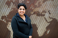 "26 April 2018, Germany, Wolfsburg: Indian artist Vibha Galhotra standing by her piece ""Time Symphony or Cacophony"". The exhibition ""Facing India"" at the Kunstmuseum Wolfsburg art museum runs from 29 April - 07 October. Photo: Hauke-Christian Dittrich/dpa"