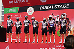 Team Qhubeka Assos at sign on before the start of Stage 6 of the 2021 UAE Tour running 165km from Deira Island to Palm Jumeirah, Dubai, UAE. 26th February 2021.  <br /> Picture: Eoin Clarke   Cyclefile<br /> <br /> All photos usage must carry mandatory copyright credit (© Cyclefile   Eoin Clarke)