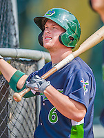 8 July 2015: Vermont Lake Monsters infielder Trace Loehr awaits his turn in the batting cage prior to a game against the Mahoning Valley Scrappers at Centennial Field in Burlington, Vermont. The Lake Monsters defeated the Scrappers 9-4 to open the home game series of NY Penn League action. Mandatory Credit: Ed Wolfstein Photo *** RAW Image File Available ****