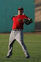 Jeremy Erben #21 of the Visalia Rawhide before a game against the High Desert Mavericks at Stater Bros. Stadium on May 15, 2012 in Adelanto,California. (Larry Goren/Four Seam Images)