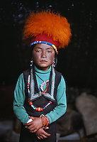 Tibet, Kham - Thuma Tibetan nomad girl in Degang Valley, near Litang, 2005.