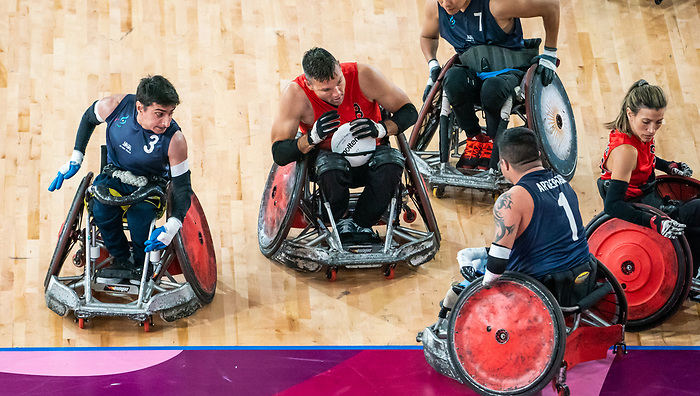Michael Whitehead, Lima 2019 - Wheelchair Rugby // Rugby en fauteuil roulant.<br /> Canada takes on Argentina in wheelchair rugby // Le Canada affronte l'Argentine au rugby en fauteuil roulant. 23/08/2019.
