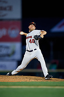 Rochester Red Wings pitcher Adam Bray (48) during an International League game against the Scranton/Wilkes-Barre RailRiders on June 24, 2019 at Frontier Field in Rochester, New York.  Rochester defeated Scranton 8-6.  (Mike Janes/Four Seam Images)