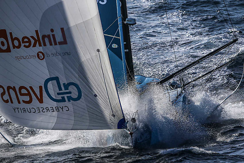 LinkedOut racing down the coast of Portugal early in Leg 2