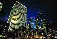 Downtown financial district, evening, Honolulu, Oahu